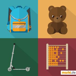 Bild Schulranzen, Teddy, Roller und Rechenschieber