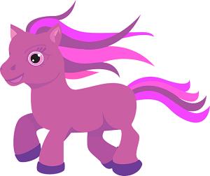 Ein rosanes Pony.