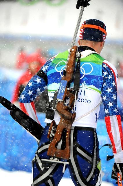 Bild Biathlonsportler im Ziel