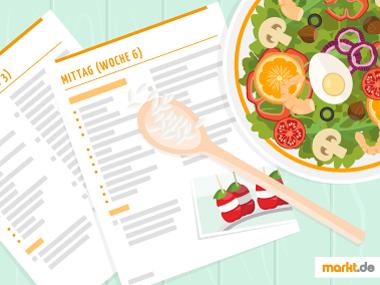 Grafik Ernährungsplan und Salatschüssel