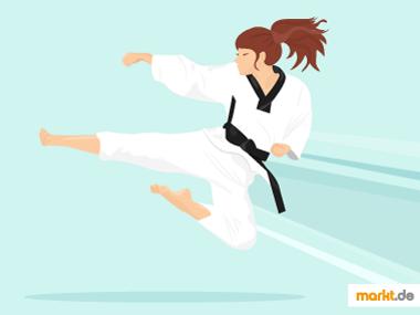 Grafik Karateübung mit dem Fuß