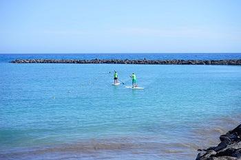 Bild zwei Personen mit Surfbretter auf dem Meer