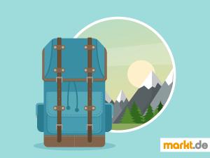 Grafik Backpack und Landschaft
