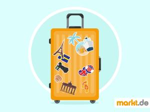 Grafik oranger Reisekoffer mit Aufklebern