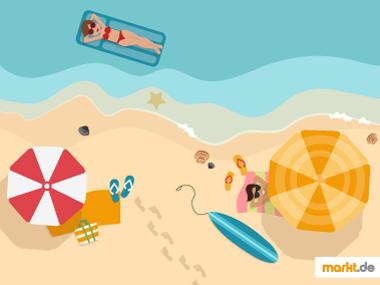 Grafik Strand mit Urlaubern