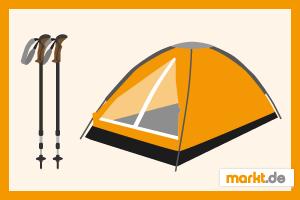 Bild Wanderausrüstung Zelt und Wanderstöcke