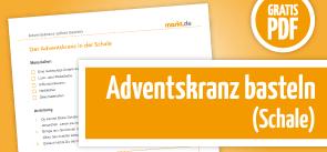 Grafik Bastelanleitung Adventskranz in der Schale als PDF