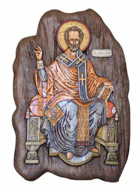 Abbild des heiligen Nikolaus aus Holz